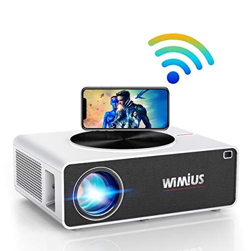 Proiettore WiFi,WiMiUS 7500 Lumen Videoproiettore Full HD Nativa 1920x1080P LED Proiettore Supporto 4K Schermo 300  per Home Cinema Theater Compatibile con Smartphone,Fire Stick,TV Stick, PC,PS4