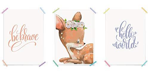 Myprinti® Lot de 3 Posters pour Chambre d'enfant Motif Hello World, 3 x DIN A5 (14,8cm x 21cm)