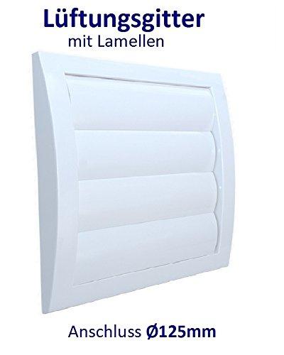 Lüftungsgitter mit beweglichen Lamellen Jalousie Abschlussgitter Rückstauklappe Verschlussklappe. ABS-Kunststoff. VCD. (Anschluss 140mm, Weiß)