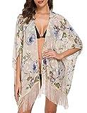 Kimono de Gasa Impreso Floral con Borla Mantón Cardigan Manga Murcielago Mujer Tallas Grandes Pareo Gasa Traje de Baño Top Beachwear Bikini Cover Up