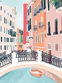 5D DIY diamant schilderij straat strass foto diamant borduurwerk stad landschap mozaïek cartoon A9 50x70cm