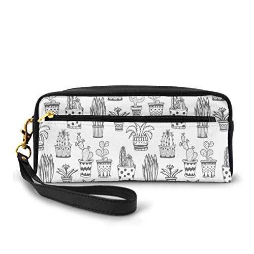 Pencil Case Pen Bag Pouch Stationary,Doodle Flowers in Pots with Polka Dots and Zig Zags Tropical Plants Monochrome,Small Makeup Bag Coin Purse
