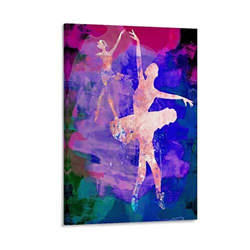 jiaohua Póster de dos bailarinas bailarinas y arte de pared, impresión moderna para decoración de dormitorio familiar (20 x 30 cm)