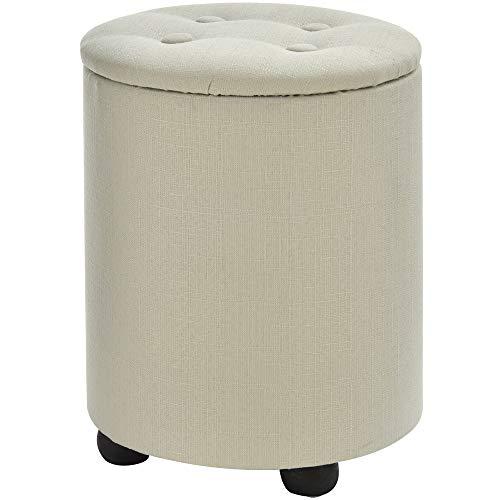 HOMCOM Sitzhocker mit Stauraum, Fußhocker, Polsterhocker, Aufbewahrungsbox, Deckel Abnehmbar, Leinen, Cremeweiß, Ø30 x 40H cm