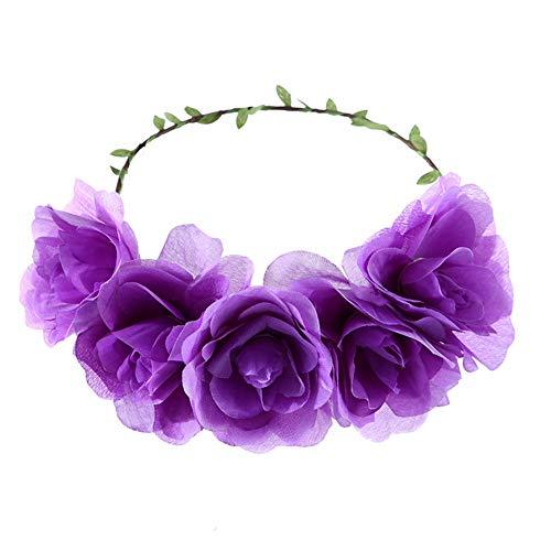YAZILIND Festival de la corona de flores de flores de la boda de la fiesta de la playa del pelo guirnalda floral diadema accesorios para el cabello púrpura