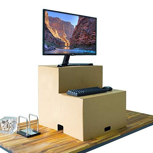 PAPER MAKER Faltbarer Stehpult aus Karton, Pop-Up-Laptop/Computertisch mit Tastaturablage, zusammenklappbare Schreibtische für Heimbüro, Arbeiten (braun)
