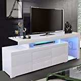 """XINQITE Modern White TV Stand with LED Lights, TV Cabinet Entertainment Center Stand for TVs up to 55 Inch, Media Game Console Table with Storage, 51""""L x 14""""W x 20""""H"""