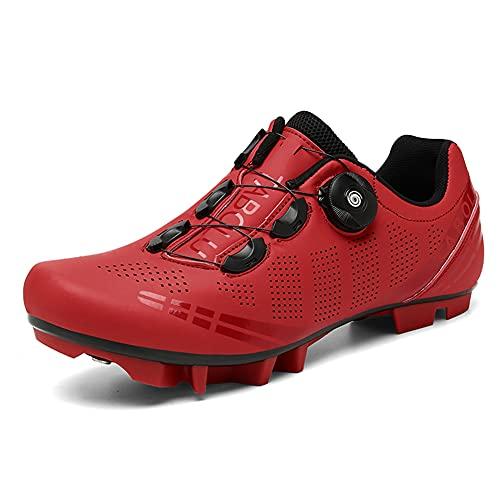 Zapatillas de Bicicleta de Montaña Antideslizantes para Hombre Mujer Zapatillas de Ciclismo MTB Transpirables Profesionales Compatibles con SPD Red 265