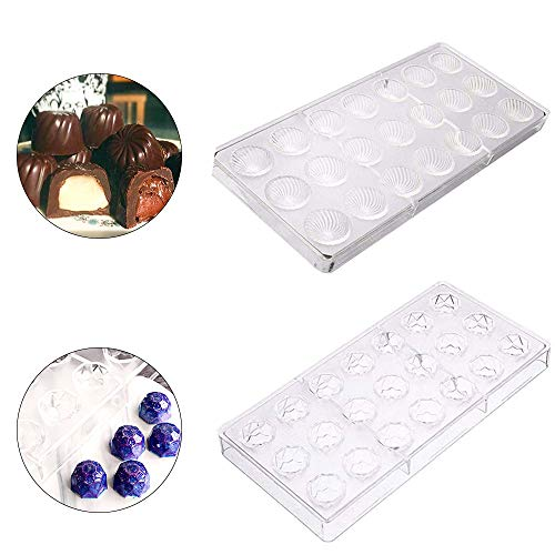 Ritte 3D Schokoladenform, 2 Stück Pralinenform Backform Backzubehör aus Polycarbonat, Rechteckig, Transparent, Schockoladeform, Dessertform(Zufälliger Stil)