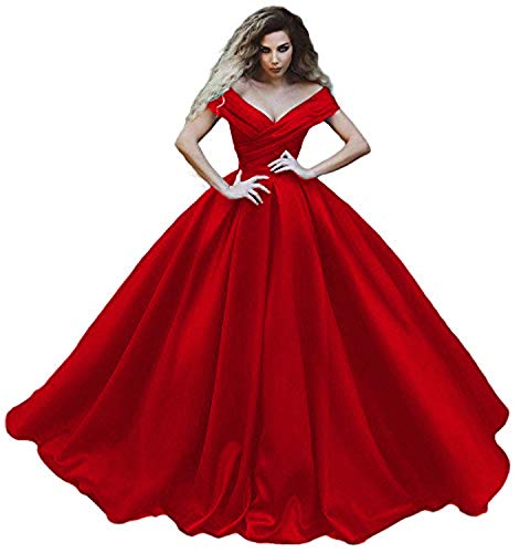 Topshop Womens Off Shoulder V Neck Prom Dresses Satin Evening Quinceanera Gowns Red Size 20