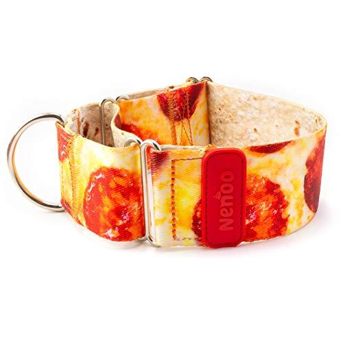 Nenoo Collar Martingale para Perros Que Escapan de los Collares Normales. Patrón de Deliciosa Pizza! 25-43 cm