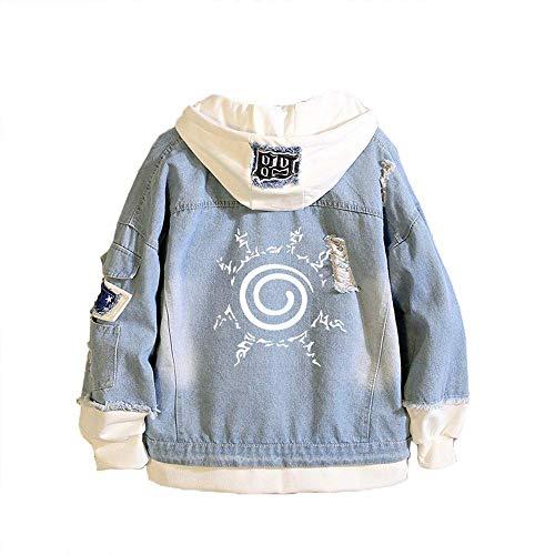 Yesgirl Damen Herren Unisex Japanische Naruto Anime Hoodie Jacke Cosplay Uchiha Sasuke Jeansjacke Anime Sweatshirt Kostüm Kapuzenpullover Casual Outerwear A Blau M