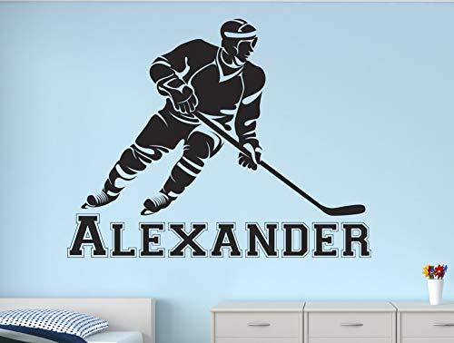 Calcomanía de pared de palo de hockey personalizada para niños, etiqueta engomada para decoración de guardería, 38 pulgadas de ancho