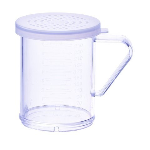 Winco PDG-10CM, 10 Oz Plastic Dredge with Clear Snap-on Lid, Seasoning Sugar Spice Pepper Shaker with Medium Holes