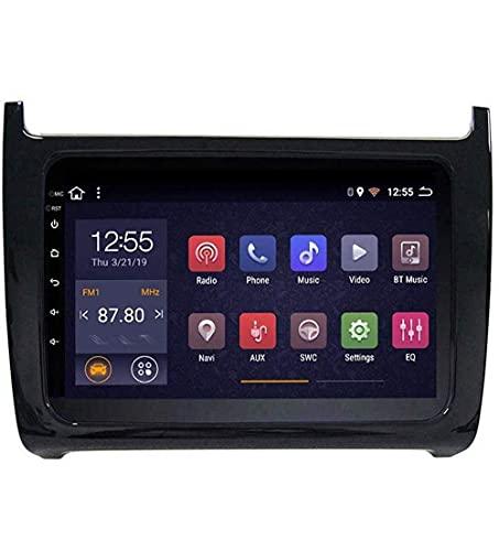 FDGBCF Radio de Coche con navegación GPS Android 8.1, TV estéreo con Pantalla táctil de 9 Pulgadas, para VW Polo 2008-2018, con Control de Volante, Bluetooth, Llamadas Manos Libres, 4G + WIFI4G + 64G