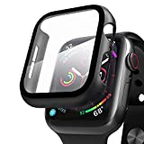 Compatibile con Apple Watch 44mm Series 5/4/6/SE Custodia+Protezione Schermo, Qianyou Case PC Protettiva in Vetro Temperato Integrata, Cover Pieno Ultra Sottile Paraurti e Screen Protector (Nero)