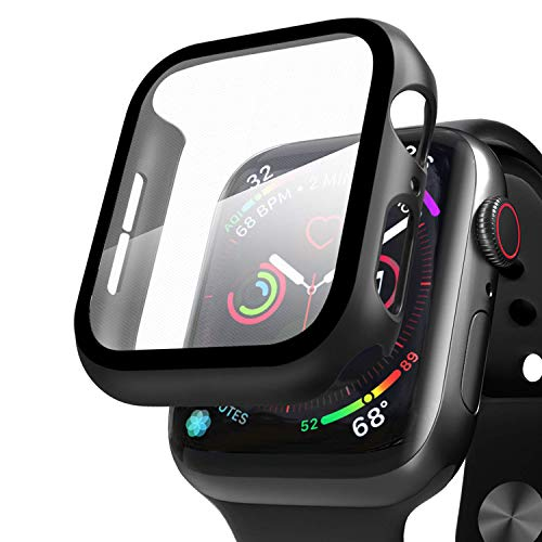 Compatibile con Apple Watch 44mm Series 5/Series 4 Custodia+Protezione Schermo, Qianyou Case PC Protettiva in Vetro Temperato Integrata, Cover Pieno Ultra Sottile Paraurti e Screen Protector (Nero)