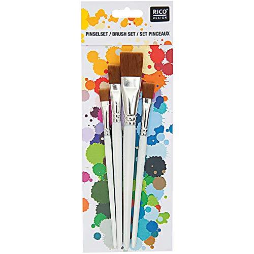 Rico Design Spezialhobby Pinselset 4er Set - Malpinsel, Künstlerpinsel, Zeichenpinsel flach - Für Anfänger, Künstler, Kinder & Erwachsene