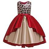 3-10 Años Niñas Falda Princesa Sin Mangas Lentejuela Decoración Bowknot Bodas Fiesta Flores Niña Vestidos Chica Pageant Primera Comunion Vestido Rojo 6-7 años