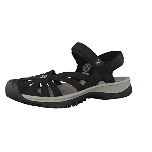 KEEN Women's Rose Sandal, Black/Neutral Gray,8.5 M US