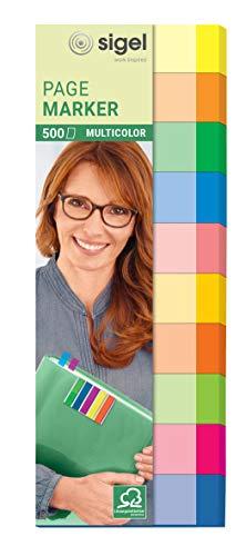 SIGEL HN682 Haftmarker Multicolor, 500 Streifen, 10 Farben im Format 15 x 50 mm, aus Papier