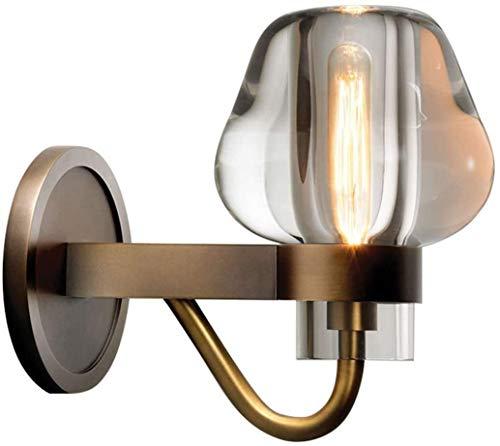 Lampada da parete Luce Vintage industriale parete, lampada da parete Retro metallo, vetro libero paralume rame Loft Kitchen Industire Lampada, supporto E14 della lampada di studio Cucina Tavolo da pra