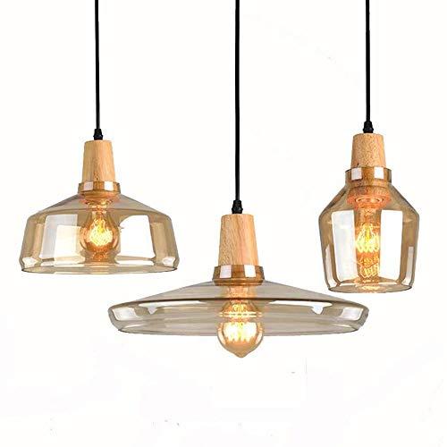 Luces colgantes 3 cabezas Lámpara colgante de vidrio soplado de la boca, vintage retro industrial loft de vidrio lampana de techo mesa de comedor luz, lámpara de techo de techo de color ámbar de color