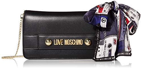 Love Moschino Damen Borsa Small Grain Pu Clutch, Schwarz (Nero), 14x26x3 Centimeters