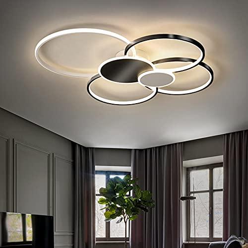 Bellastein Woonkamerlamp, plafondlamp, led, dimbaar, met afstandsbediening, led-plafondlamp, slaapkamer, plafondlamp, lamp, modern, metaal, acryl, hanglamp voor werkkamer, keuken, lamp (zwart, 80 cm/72 W)