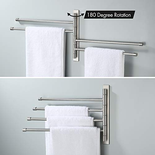 KES Swivel Towel Bar for Bathroom, Adhesive 4-Arm Swing Out Towel Rack Wall Mounted, SUS 304 Stainless Steel, Brushed Finish, A2102S4DM-2