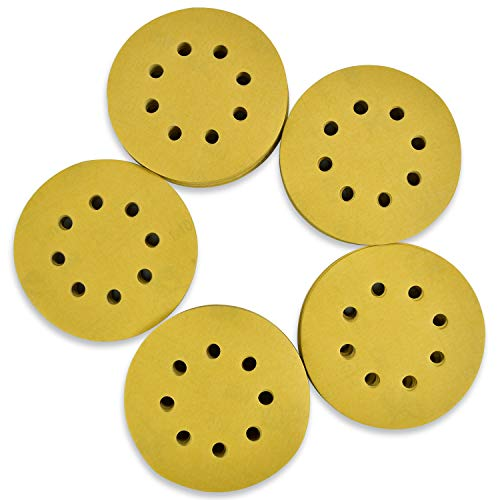 AMJ 5in Sanding Discs Hook and Loop, 8 Hole Sand Paper, Gold Mechanical Polishing for Random Orbital Industrial & Car, 400 Grit, Pack of 100