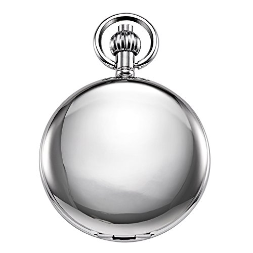 Reloj de bolsillo unisex Treeweto con cadena, analógico, cuerda de mano, esqueleto antiguo, números romanos, plata