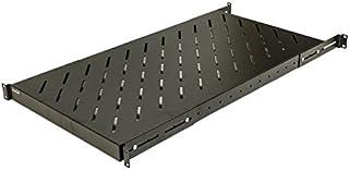 NavePoint 1U 19インチ 固定 4柱 ラックマウント サーバーシェルフ 奥行調整可能 18~42インチ ブラック