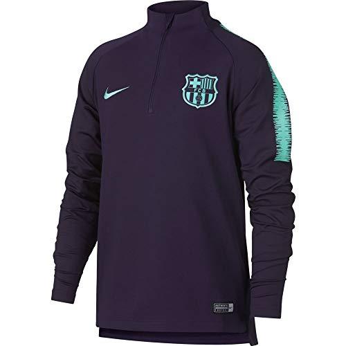 Nike Kinder FC Barcelona Dry Squad Drill Langarmshirt, Purple Dynasty/Hyper Turquoise, XS