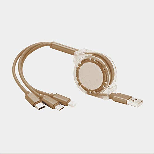 Triple USB Charging Cable with USB for Mobile Phones/Huawei/Samsung Delayed Three Telescopic Multifunction Data Lines Fast Line Rechargeyour,Gold