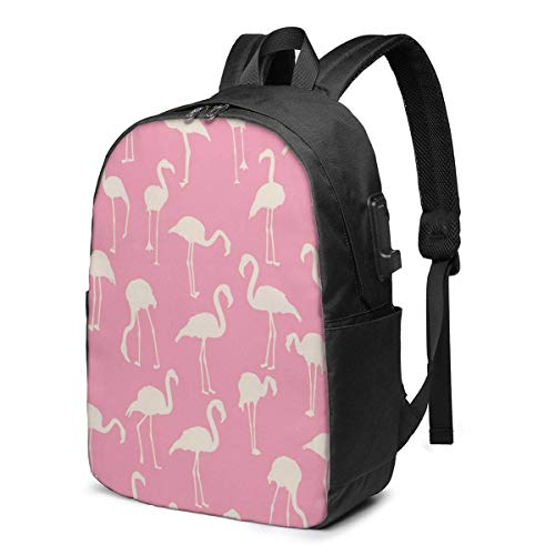 XCNGG Flamingo Pattern Travel Laptop Backpack College School Bag Casual Daypack with USB Charging Port