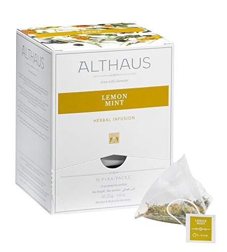 Althaus Tee LEMON MINT⋅ Kräutertee im Pyramidenbeutel PYRA PACK ⋅ Naturbelassener Kräutertee mit Zitronengras und Pfefferminze ⋅ 15 x 2,75g