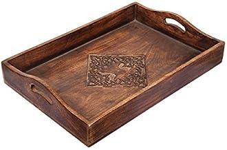 Store Indya Tasteful Hand Carved Wooden Breakfast Tray Platter with Handles Kitchen Dinging Serveware Accessories