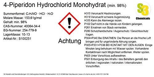 S3 Chemicals 4-Piperidon Hydrochlorid Monohydrat (min. 98prozent) Gebindegröße 25g