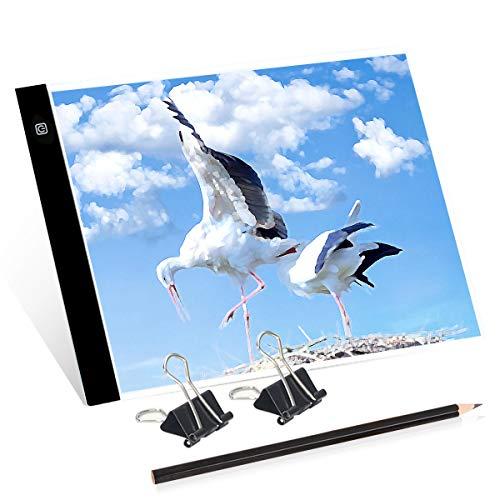 NONZERS Mesa de Luz Dibujo A4, LED Tableta de Luz de Iluminación de la Caja de Alimentación Micro USB Ideal para Animacion Tatoo