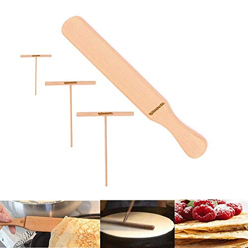 Wooden Crepe Spatula and spreaders Wooden Spatula Set Perfect Size to Fit Medium Crepe Pan 100% Natural Beechwood Crepe Spreader and Spatula for Cooking (YUAN)