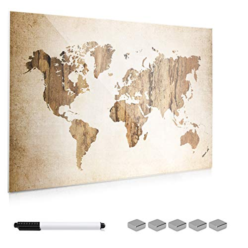 Navaris Lavagna Magnetica in Vetro scrivibile - 90x60cm 5X magneti 1x Pennarello Set Fissaggio - Bacheca Memoboard - Design Mappamondo Vintage