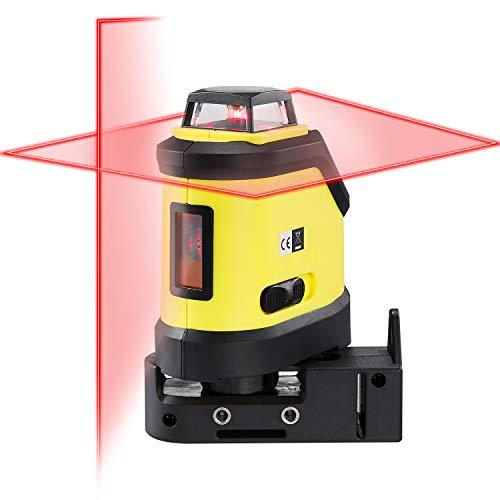 Firecore Linienlaser 360° F190R Kreuzlinienlaser mit Pulsmodus Laserlevel mit Klemmhalterung, Roter Laser 20 m, ±0,3 mm/m