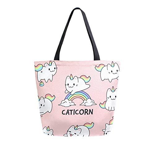 Bigjoke Canvas-Tasche mit süßem Katzen-Einhorn-Muster, große Damen-Schultertasche, Handtasche, wiederverwendbar, Einkaufstasche, tragbare Aufbewahrungstasche für draußen