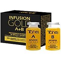 Tahe  12073151- Infusion Gold Tratamiento Capilar Potenciador de Brillo y Nutrición con Oro Líquido y Keratina Pura, 2 x 10 ml