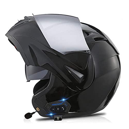 FFYN Casco Delantero abatible con Bluetooth Integrado para Motocicleta, Aprobado por Dot, Casco Integral Modular, Casco de protección para Motocicleta con Doble Visera, Casco liviano pa