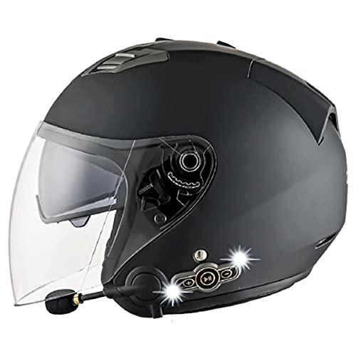 ABDOMINAL WHEEL Casco Bluetooth Integrado Medio Abierto, Casco De Moto con Visera, Casco Moto Jet Cubierto Casco De Seguridad, ECE Homologado Casco De Motocicleta Unisex,Scooter Casco E,M=57~58CM
