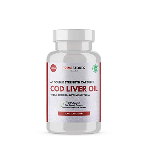 Omega Cod Liver Fish Oil Tablets 1000 mg - 60 High Strength Vitamin Capsules for Adults - Supplement for Men and Women by Primestores