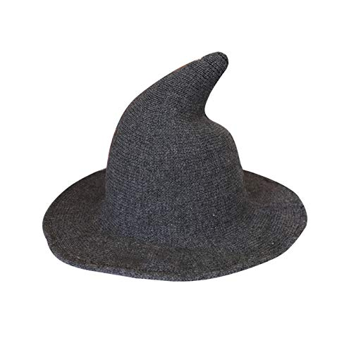 Bestjybt Halloween Witch Hat Women Wool Wide-Brimmed Wizard Hat Cap (Dark Grey)