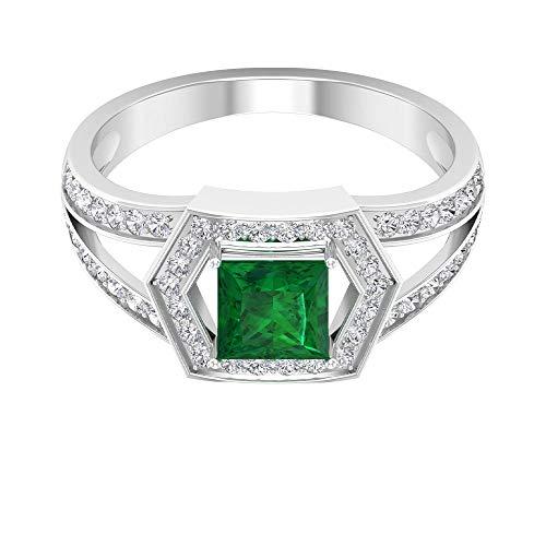 Anillo de compromiso vintage, anillo de boda con vástago dividido, 0,55 quilates, anillo de esmeralda solitario, anillo de corte princesa, 18K Oro blanco, Size:EU 57